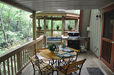 Lower Deck - Table, Grill and Hot Tub in Gazebo