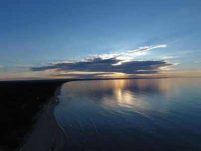 Drone Sunset above Cottage