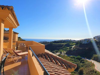 Photo for Bright penthouse overlooking the sea and the mountains.