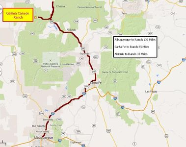 Map showing how to get to the ranch