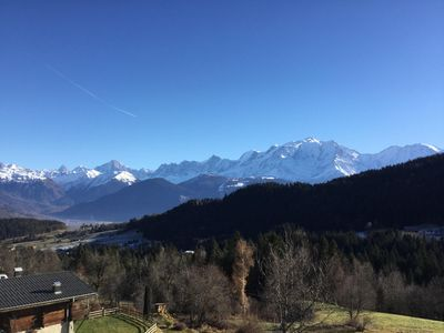 Photo for Authentic, fully renovated apartment, unique view of Mont Blanc
