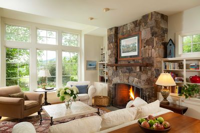 Living room with fireplace and garden views