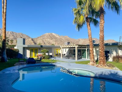 Photo for Mid-century modern pool home w/backyard oasis, top of La Quinta Cove