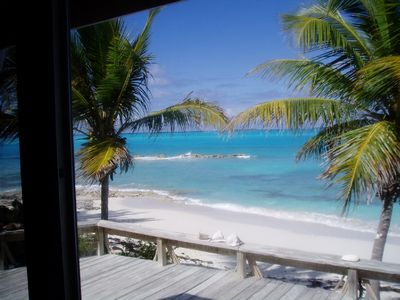 View of private beach from living room