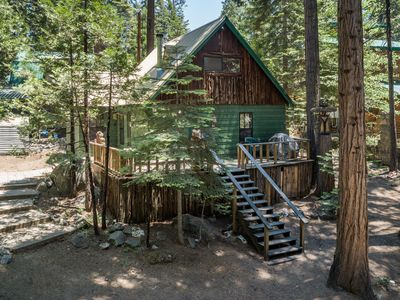 Photo for Cozy family cabin in forested setting w/ wraparound deck - close to slopes