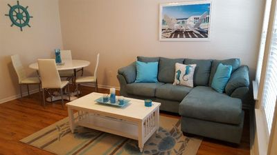 Photo for 2-Bedroom 2-Bath, Block to Beach, Private Patio by Pool, Beachy Decor
