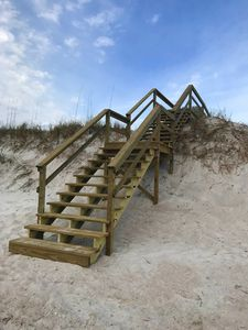 Recently added boardwalk stairs to ocean