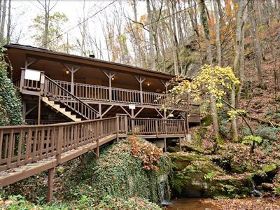 Photo for 10% BACK TO SCHOOL SPECIAL 7/6-8/30 Waterfall Cabin, Hot Tub, Close to Pigeon Forge & Gatlinburg