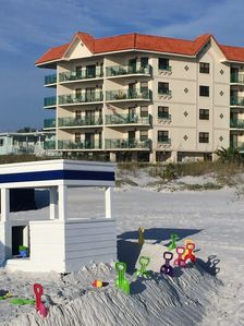 Beach amenities available at Don CeSar Beachhouse Resort next door.