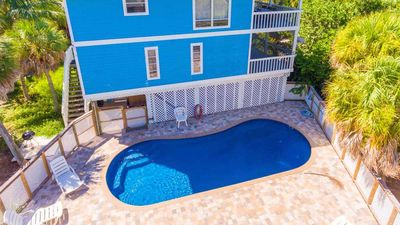 Photo for Private Pool Home , Steps from the Beach and SPECTACULAR Sunsets from the Porch
