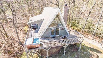 Photo for Classic A-frame chalet, romantically rustic with great deck and mountain view