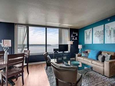 Photo for Water Views in the Heart of Seattle! Walk to Pike Place Market and Waterfront! Hot Tub, Pool and Gym
