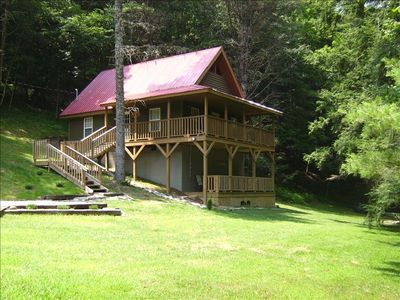 Photo for COZY CABIN W/PRIVATE HOT TUB CLOSE TO HIKING, BIKING, FISHING, MOTORCYCLE RIDING