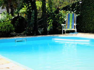 Photo for Garden House Getaway - Blue House with Garden and Pool in Blumenau, European Valley