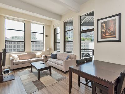 Photo for Gorgeous 2 bdrm 2 bath apartment steps from PATH, great views, by NYC, sleeps 6.