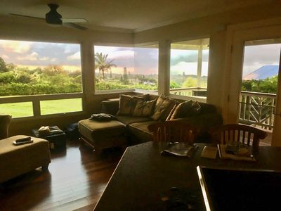 Remodeled Living room with seamless corner window & fantastic sunset views