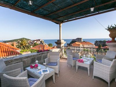 Photo for Dubrovnik Solei apartment - Old Town sea view from great terrace, Pile area