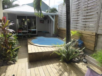 Photo for Charming Wooden Bungalow 100m from the beach with its small private pool