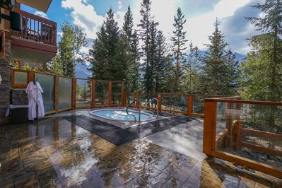 Relax in the shared hot tub.