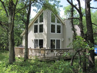 Photo for New Beautiful Pocono Chalet, Private Wooded Lot.