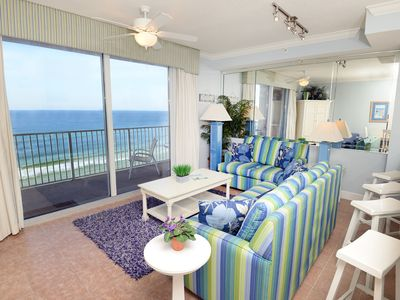 Photo for Spacious gulf-front condo ! Free beach service! Fitness center + Roman spa on-site!