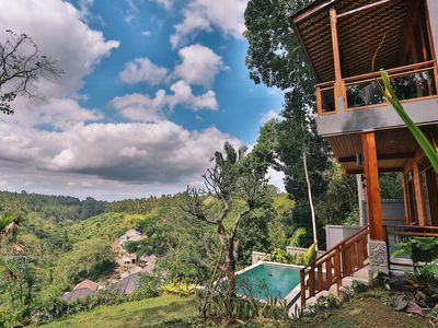 Photo for Traditional Balinese Joglo house, infinity pool overlooking tropical valley