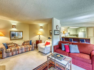 Photo for Spacious mountain condo w/shared pool & hot tub. Close to river -Walk to slopes