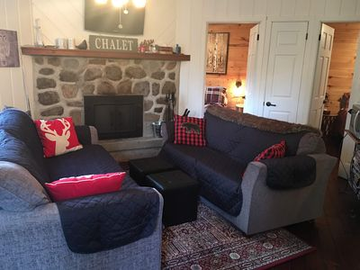 Photo for Cozy Ski Chalet only 1 km from Morin Heights with fieldstone fireplace and spa.