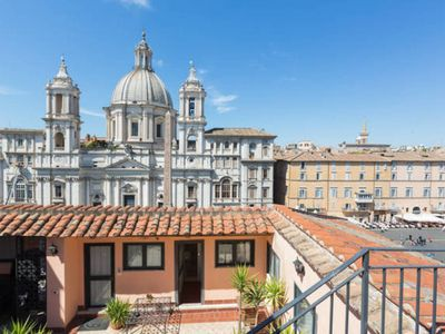 Photo for PENTHOUSE ON NAVONA SQUARE! AMAZING LOCATION - TERRACE- ELEVATOR-WIFI-AC
