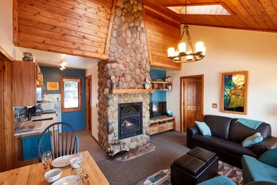 Relax on the plush seating as you warm your toes by the fireplace.
