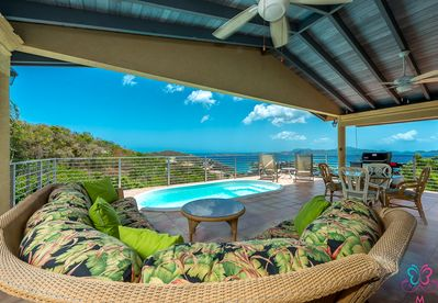 patio with views of Cruz bay and surrounding islands