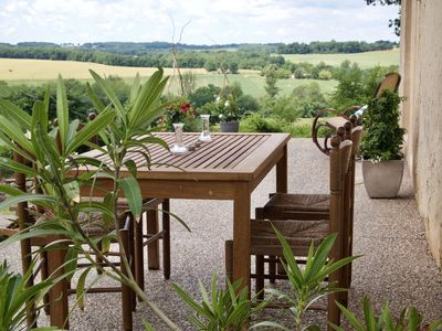 South facing terrace leading from the salon with delightful views