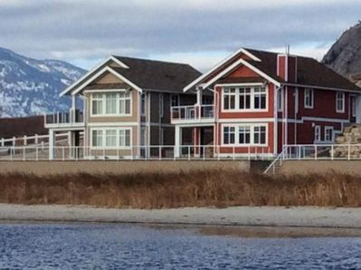 Our red home will inspire you to relax with scenic lake views or play outside.