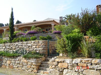 Photo for Var - conditioned Villa with sea view, flower garden, beaches + village (400m) 3 bedrooms