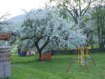 swing before the chalet in spring