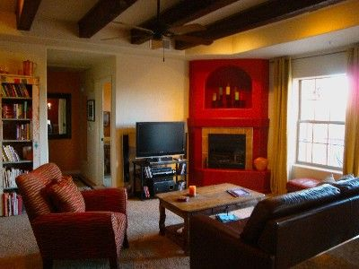Comfortable vibrant living space with Sony HDTV and 5.1 Surround Sound System