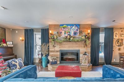 Main living area with gas fireplace