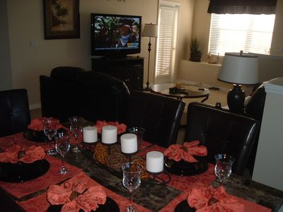 50' flat screen, table sittings for 8
