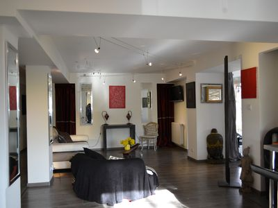 Photo for Super apartment 110 sqm, ground garden - beautiful spaces, 3 bedr. - Swimming pool