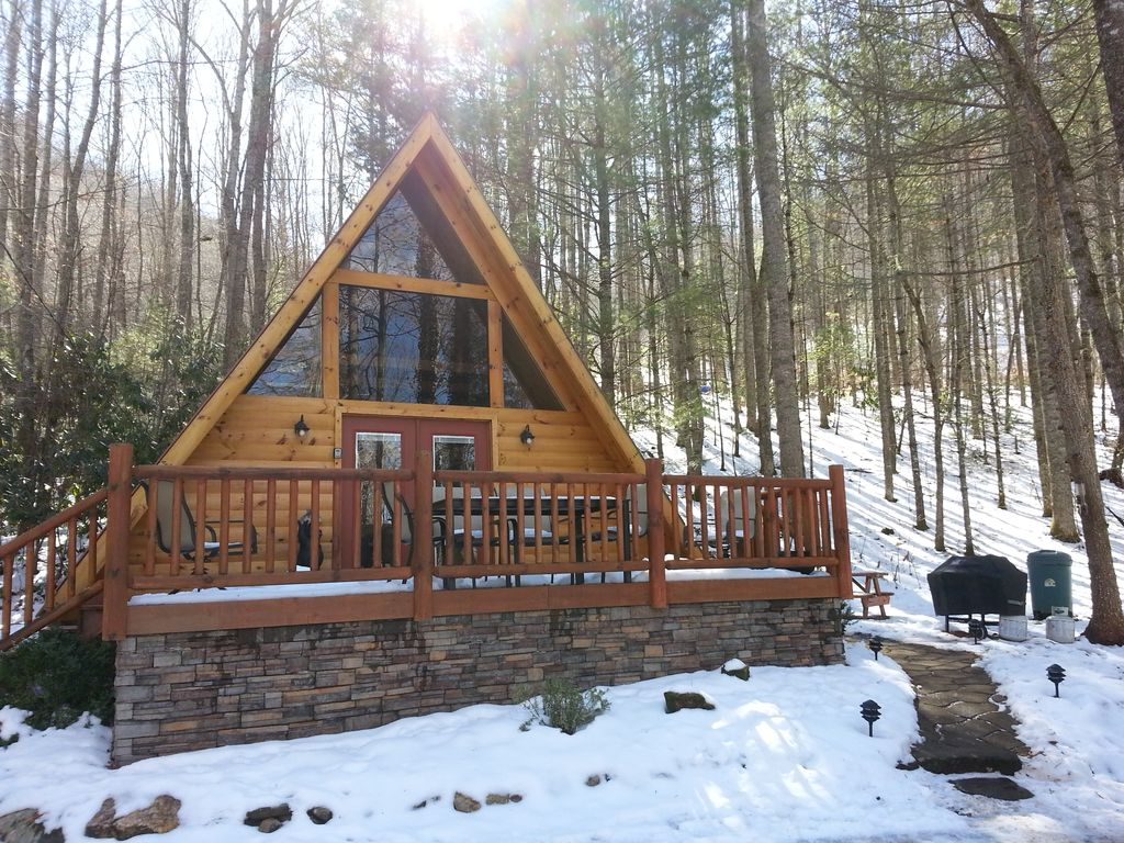 A frame log cabin in the woods wifi hot vrbo for A frame log house
