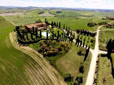 Photo for Belvedere: large apartment with pool in the Tuscan countryside near Siena