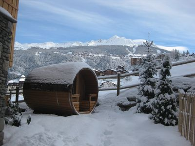 Photo for Catered Chalet in Montchavin-La Plagne with sauna, ski-in/ski-out