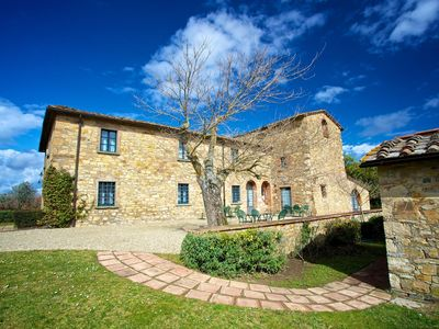 Photo for Apartment with WIFI, A/C, pool, TV, pets allowed, panoramic view, parking, close to Greve In Chianti