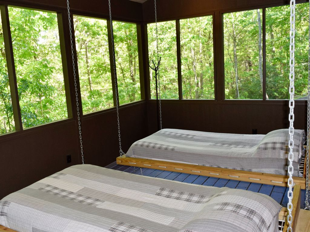 Design Swinging Beds swinging beds on porch3decks hot tub poo vrbo with screened in porch