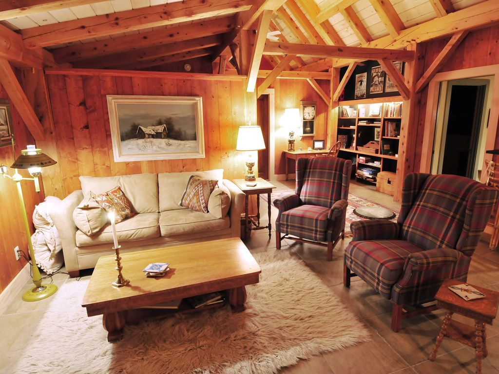 Central Vermont Timber Frame Loft overlooking brook and woods ...