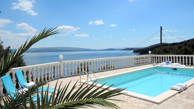 Photo for VILLA & OWN POOL fabulous views at TURQUOISE SEA over SMALL BAY
