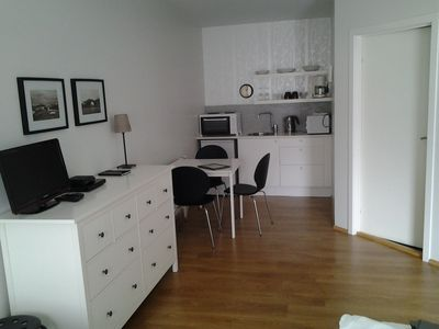 Studio 1. Drawer and kitchenette. 30 sqm studio. Two single beds and sofabed.