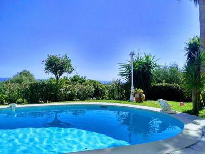 Photo for Typical French Riviera villa for holidays with pool and amazing seaview