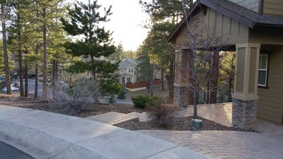 Its a hilltop setting.  The home entrance is on the right.