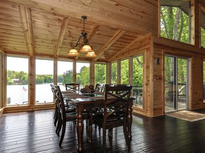 Dining room overlooking the lake.  Seating for 8.